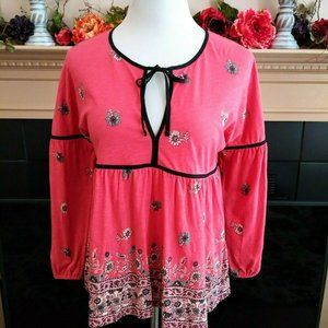 Lucky Brand Boho Floral Knit Top S Coral Multi